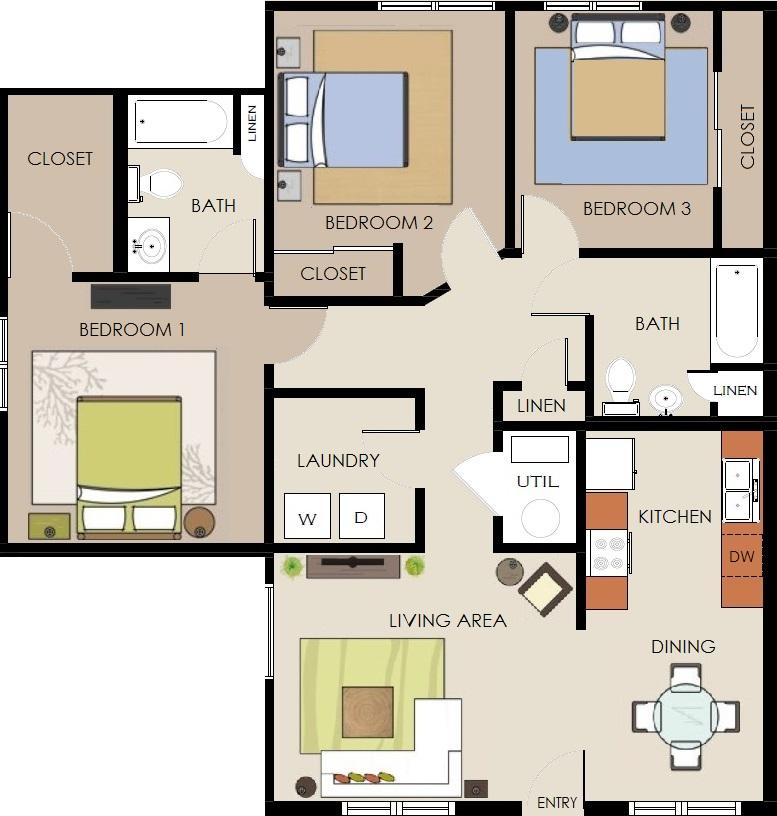 3 Bedroom Lower Level floorplan IN COLOR